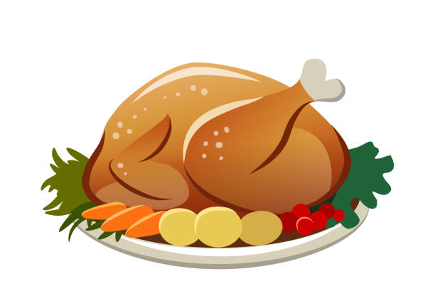 Christmas Dinner Clipart.Best Christmas Turkey Illustrations Royalty Free Vector