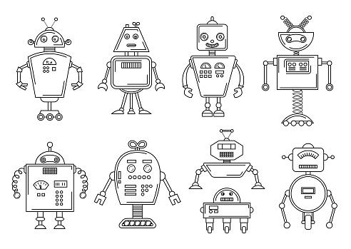 Vector Illustration Of A Robot Mechanical Character Design