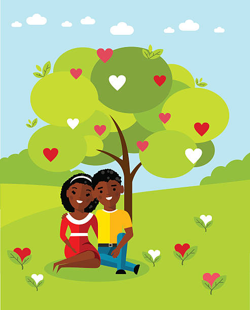 Vector illustration of a romantic african american couple in love African american сouple under a tree on the nature background  african american valentine stock illustrations