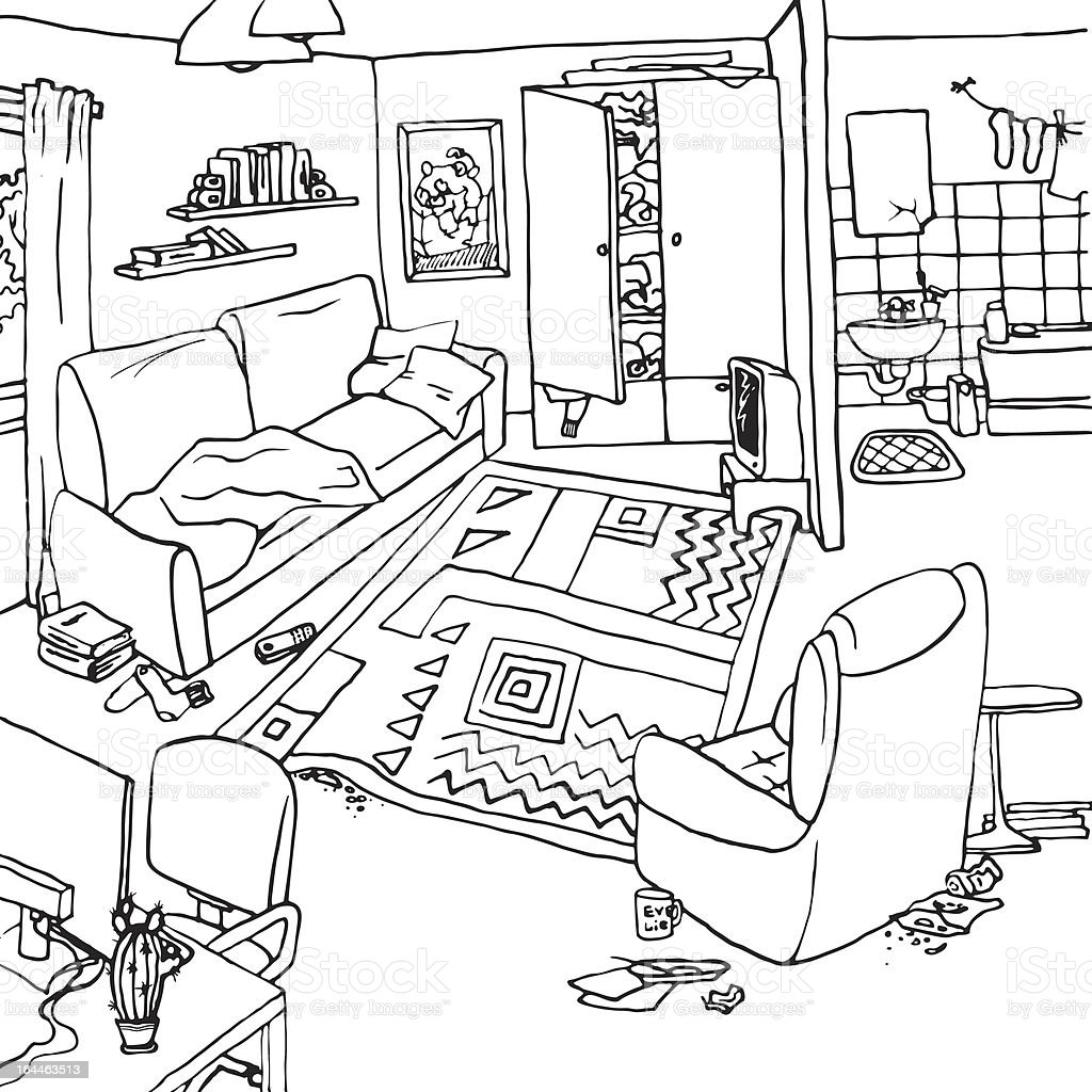 Vector illustration of a room with clutter vector art illustration