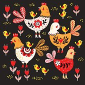Vector illustration of a rooster, hens and chickens on a black background.