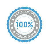 Vector illustration of a round icon satisfaction is guaranteed with asterisks on a white background