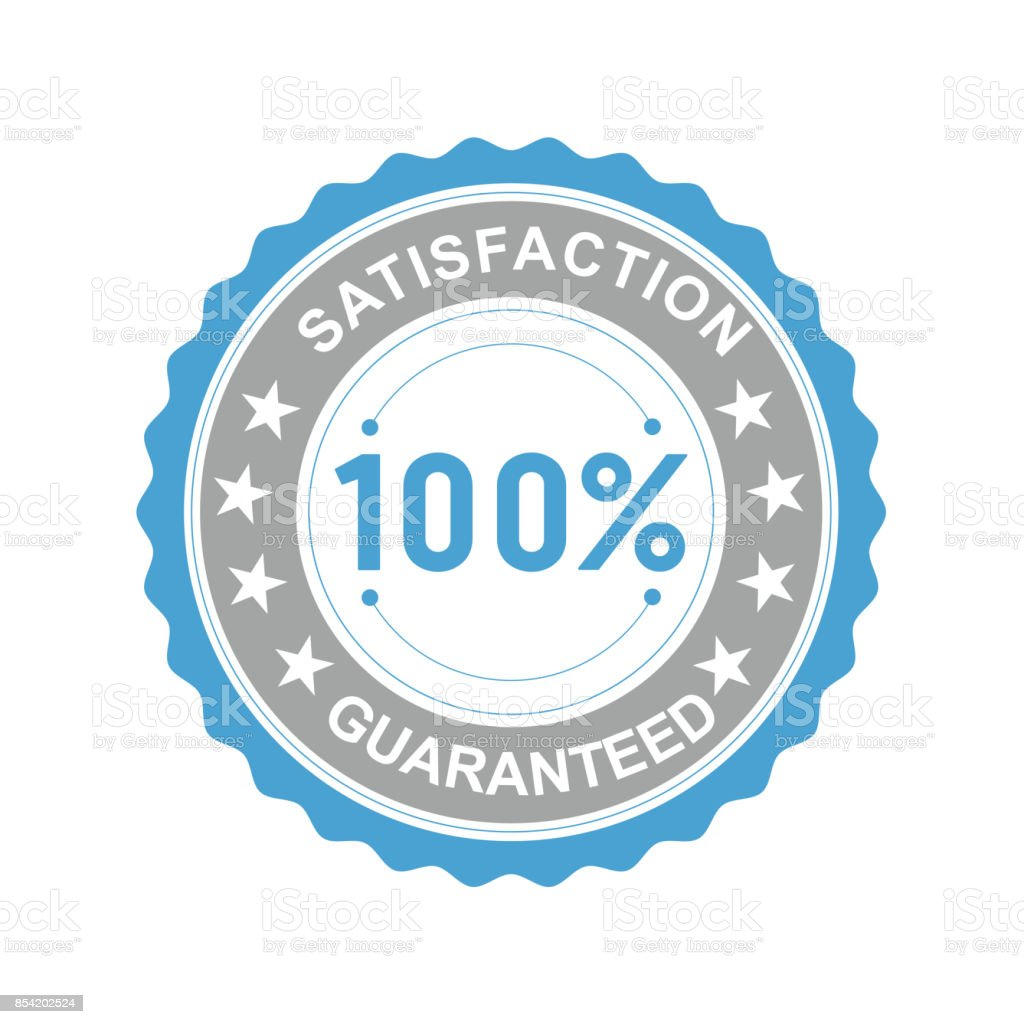 Vector illustration of a round icon satisfaction is guaranteed with asterisks on a white background vector art illustration