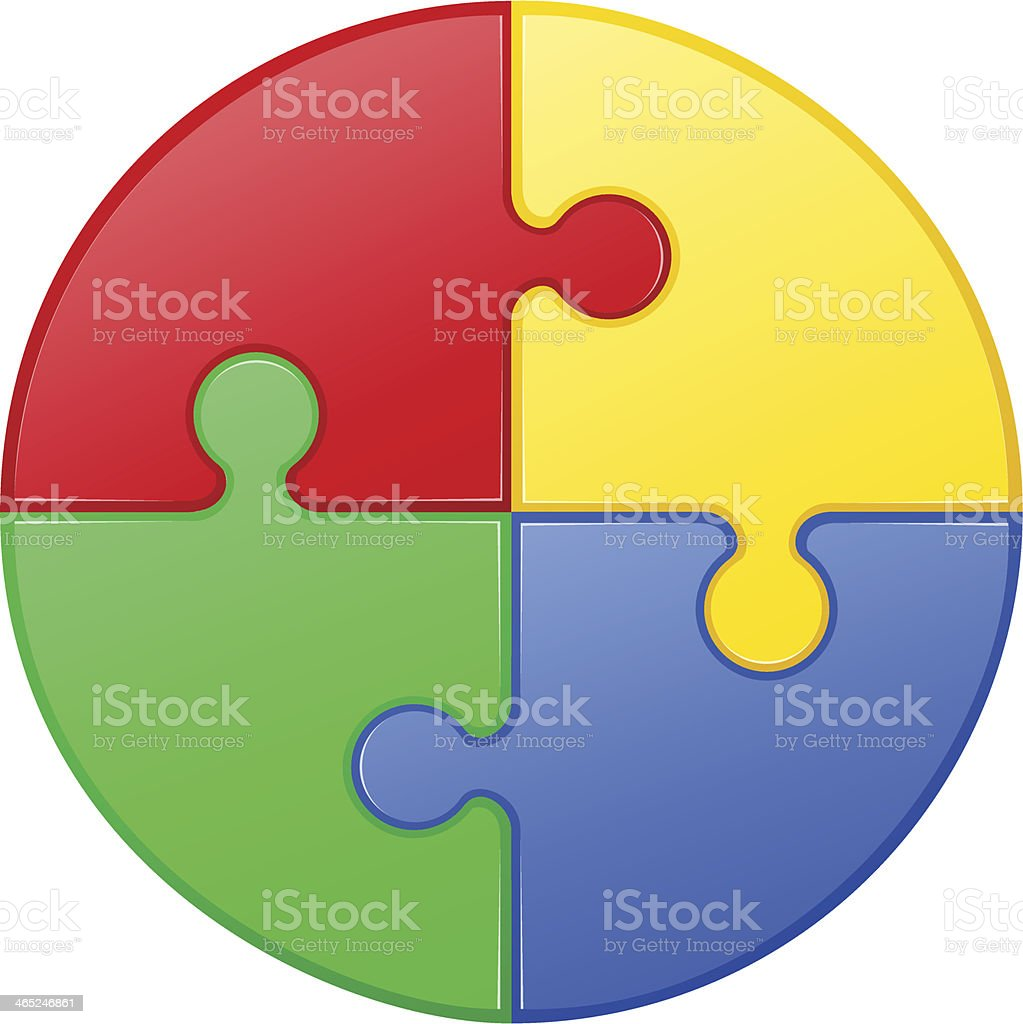 Vector illustration of a round puzzle vector art illustration