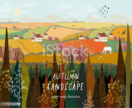Vector illustration of a rural autumn landscape or farm with houses, pets, trees and grass. Freehand drawing of a sunny summer day in the village.
