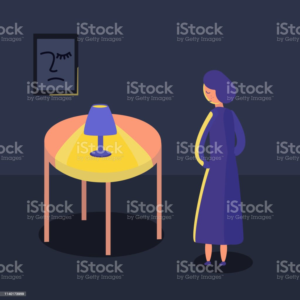 Vector illustration of a sad girl standing in a dark room by a lamp