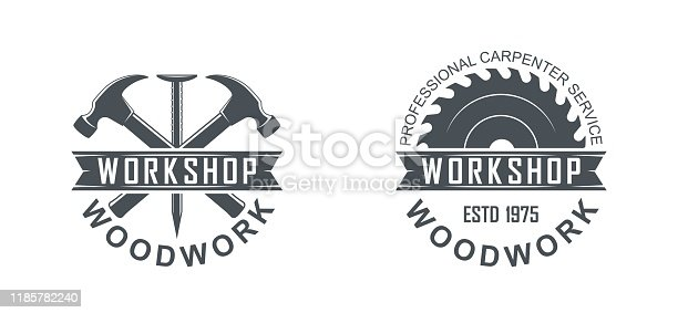 Black and white illustration of a logo of a workshop of wooden products