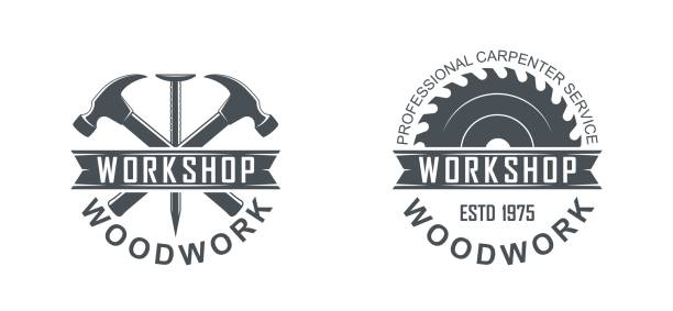 Vector illustration of a saw, hammer, nail and text on a white background Black and white illustration of a logo of a workshop of wooden products carpenter stock illustrations