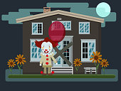 Vector illustration of a scary evil clown with red balloon next to an old abandoned house . Halloween party. Flat style.