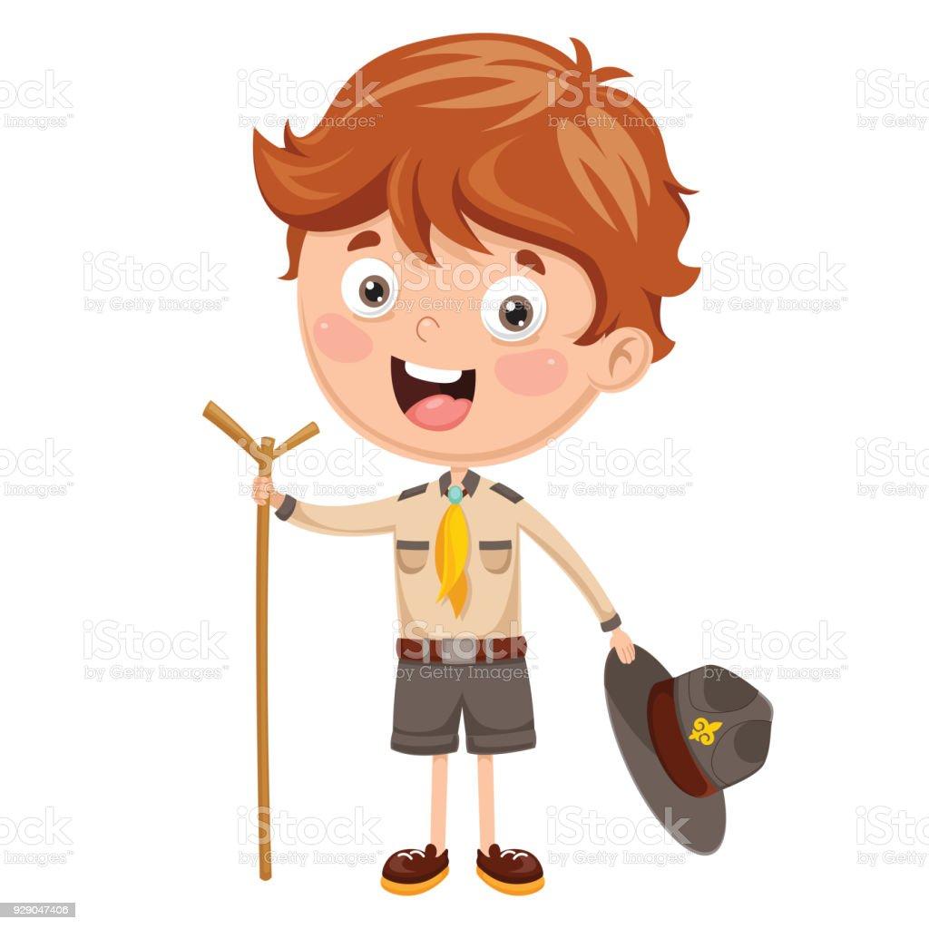 Vector Illustration Of A Scout Kid vector art illustration