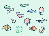 Contains such as Nautical Creatures, fish, seaweed, turtle, shark and more. flat illustration style line drawing and background color blue. Template for design fabric, backgrounds, wrapping paper.