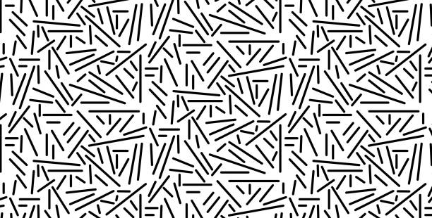 vector illustration of a seamless black pattern of scattered sticks, isolated on a white background - lepki stock illustrations