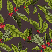 Vector illustration of a seamless pattern with leaves and berries on the branches of a coffee tree in a cartoon style. Elegant, infused pattern for coffee packaging and coffee brand design