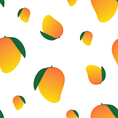 Vector illustration of a seamless pattern with mangoes in cartoon style. Tropical fruit background for packaging or fabric, juice or mango product.