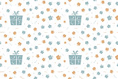 Vector Illustration of a seamless Xmas background. Christmas, new year, birthday  party theme in Vintage colours, beige, pale blue and dull orange brown party and celebration elements like swirls, wrapped up gift boxes, confetti and one big present box on a white background., No text, no people, Can be used as a wallpaper, background, gift wrapping sheet or Birthday or  New Year celebration background. The gift boxes are wrapped up by a ribbon and tied into a two looped bow with forked ends. The gift boxes have a dotted curved pattern detail. There is a big dull green blue gift box towards the left. The rest of the objects are smaller in size and are scattered all over randomly. Four instances of this seamless background are looped.