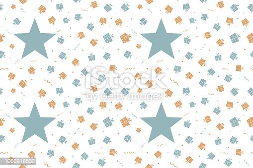 Vector Illustration of a seamless Xmas background. Christmas, new year, birthday  party theme in Vintage colours, beige, pale blue and dull orange brown party and celebration elements like swirls, wrapped up gift boxes, confetti and one star on a white background., No text, no people, Can be used as a wallpaper, background, gift wrapping sheet or Birthday or  New Year celebration background. The gift boxes are wrapped up by a ribbon and tied into a two looped bow with forked ends. The gift boxes have a dotted curved pattern detail. There is a big dull green blue pentagram star towards the left. The rest of the objects are smaller in size and are scattered all over randomly. There is just one single star and it stands out/apart within other objects. Four instances of this seamless background are looped.