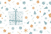 Vector Illustration of a seamless Xmas background in Vintage colours, pale green blue and dull orange brown party and celebration elements like swirls, confetti, wrapped up gift boxes,dotted  Xmas trees, twinkling stars, striped balls, snowflakes dots on a white backdrop. Christmas, new year, birthday  party theme. No text, no people, Can be used as a wallpaper, background, gift wrapping sheet or New Year celebration background. The gift boxes are wrapped up by a ribbon and tied into a two looped bow with forked ends. The gift boxes have a dotted curved pattern detail.  There is a big pale green blue wrapped present  towards the left in the frame. The gift box is composed of small pale green Xmas articles like snowflakes, Xmas trees, balls, confetti, stars. Over white, Seamless.