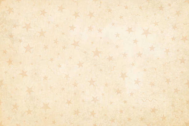 Vector Illustration of a semi seamless background (design only, not grunge) in Vintage style, beige colored stars, swirls on a pale grunge light brown starry background. Vector Illustration of a semi seamless background (design only, not grunge) in Vintage light brown color, pale dull party and celebration elements like swirls, stars, confetti on a grunge beige starry background. Only the pattern of objects on the background is seamless, while the grunge is not., No text, no people, light and faint watermark christmas objects. Objects scattered randomly over the background. Can be used as a wallpaper, Xmas background, gift wrapping sheet or Birthday party or  New Year celebration background. birthday background stock illustrations