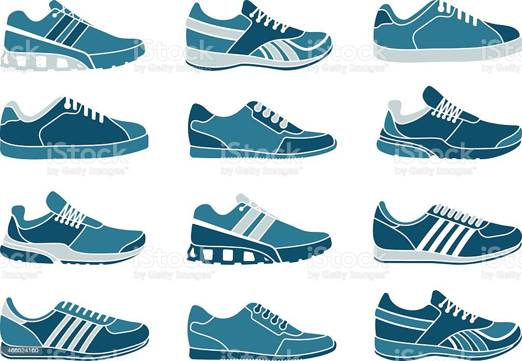 Vector illustration of a set of 16 blue sneakers