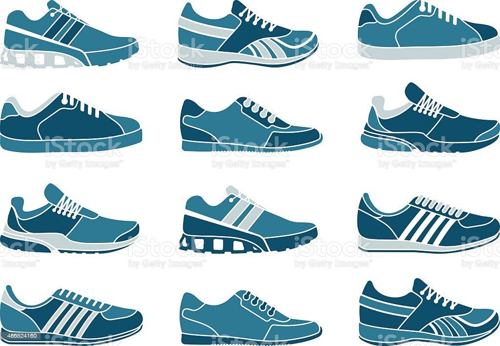 Vector illustration of a set of 16 blue sneakers vector art illustration