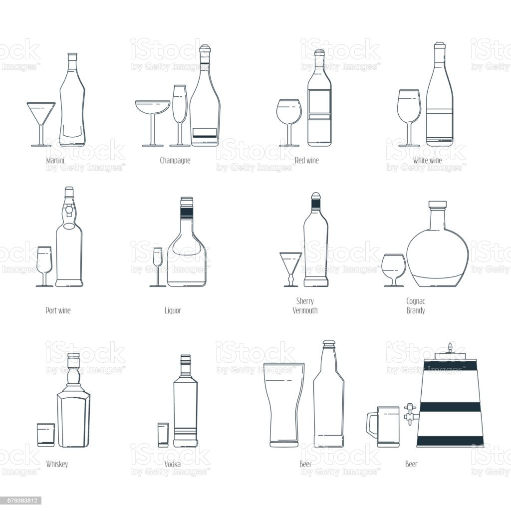 Vector illustration of a set of alcoholic drinks in bottles and wine glasses on a white background. Line art. royalty-free vector illustration of a set of alcoholic drinks in bottles and wine glasses on a white background line art stock vector art & more images of alcohol