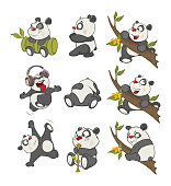 a set of various small it is gray white pandas