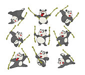 set of darlings it is gray white pandas with a bamboo