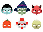 Vector illustration of a set of mask for halloween. Isolated white background. Flat style.