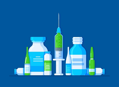 Vector illustration of a set of medical drugs on a blue background. Standard surgical kit. First aid kit for a patient.