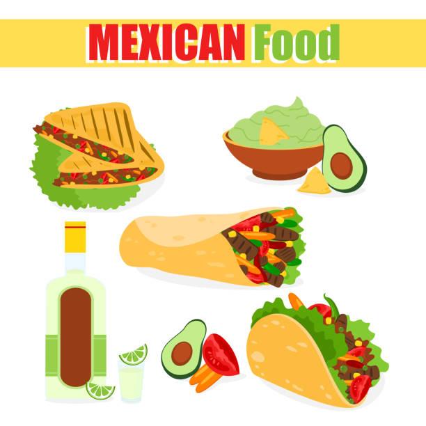 vektor-illustration aus einer reihe von traditionellen mexikanischen gerichten, tacos, burritos mit avocado fleisch, tequila mais, isoliert auf einem weißen hintergrund in einem flachen cartoon-stil. - tortillas stock-grafiken, -clipart, -cartoons und -symbole