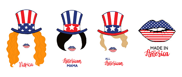 Vector illustration of a set of prints for t-shirts of women on 4th of july independence day in america. Girl with red, black, blonde hair and a hat with an American flag, lips