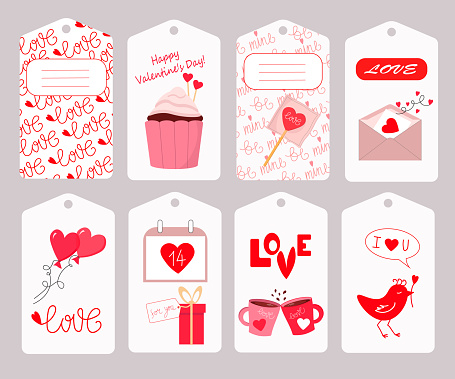 Vector illustration of a set of tags for Happy Valentine.