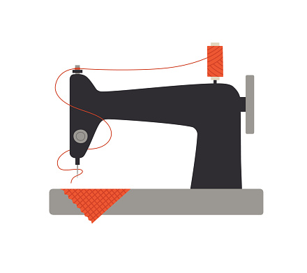 Vector illustration of a sewing machine with red thread and fabric.