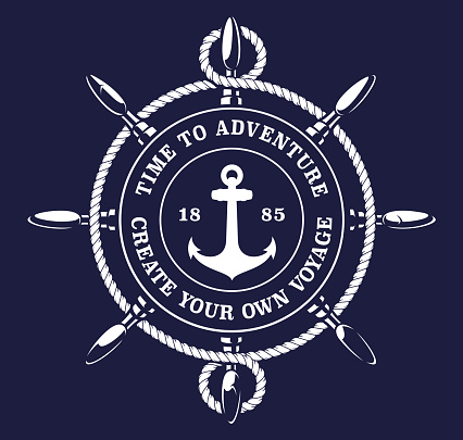 Vector illustration of a ship's wheel rope on dark background