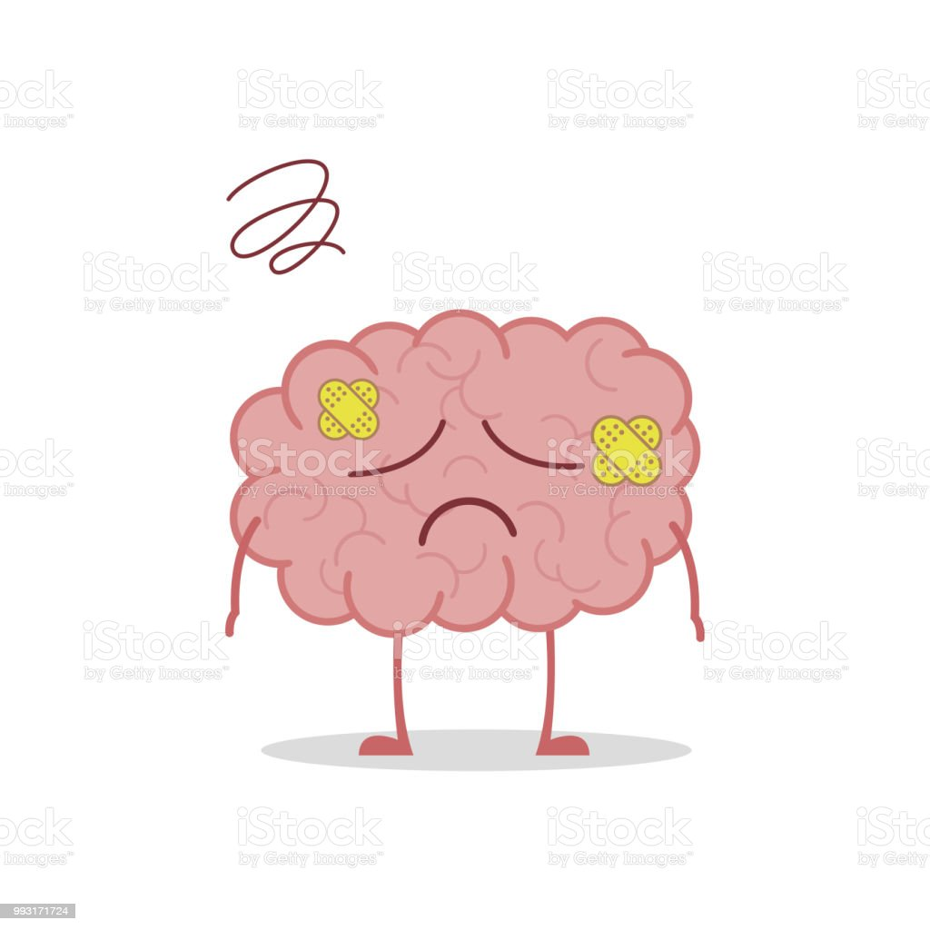 Vector illustration of a sick and sad brain in cartoon style royalty free vector