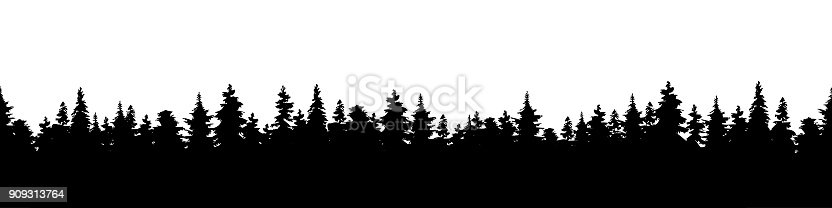 Vector illustration of a silhouette panorama of a coniferous forest. Detailed forest background