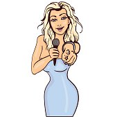 vector illustration of a singing  woman .