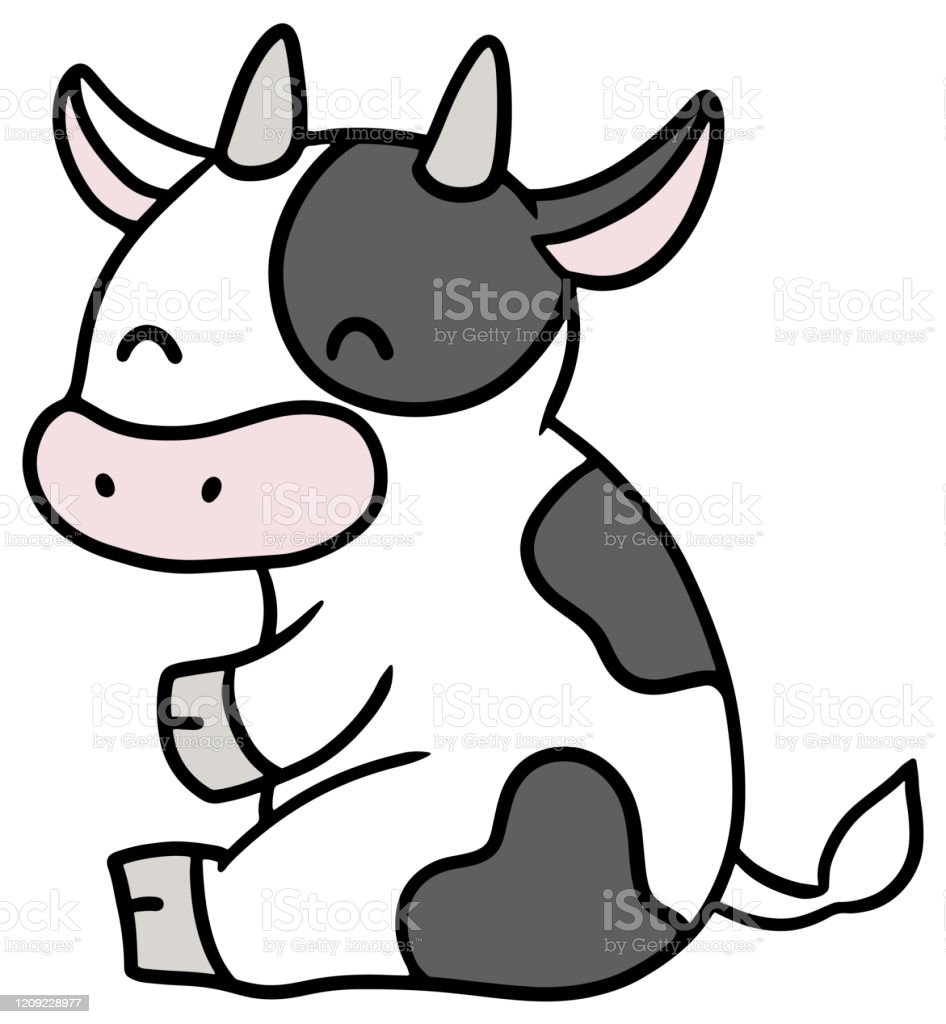 Vector illustration of a sitting cow - Royalty-free Agricultura arte vetorial
