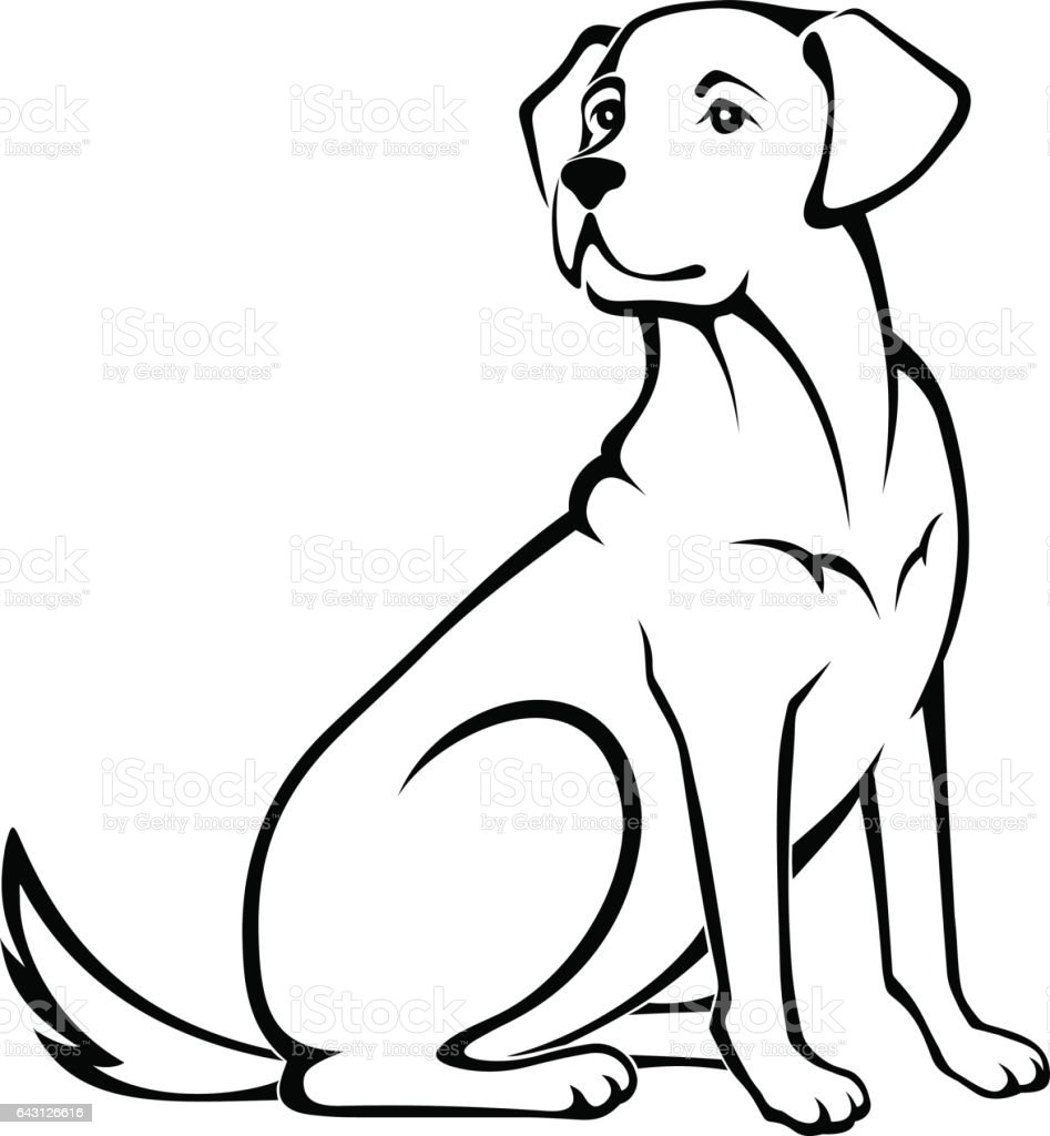 Line Drawing Of Dog : Vector illustration of a sitting dog stock art