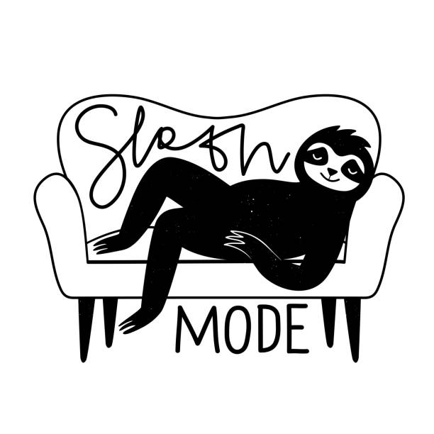 illustrazioni stock, clip art, cartoni animati e icone di tendenza di vector illustration of a sloth lying on white sofa. sloth mode calligraphy handwritten phrase. - divano procrastinazione