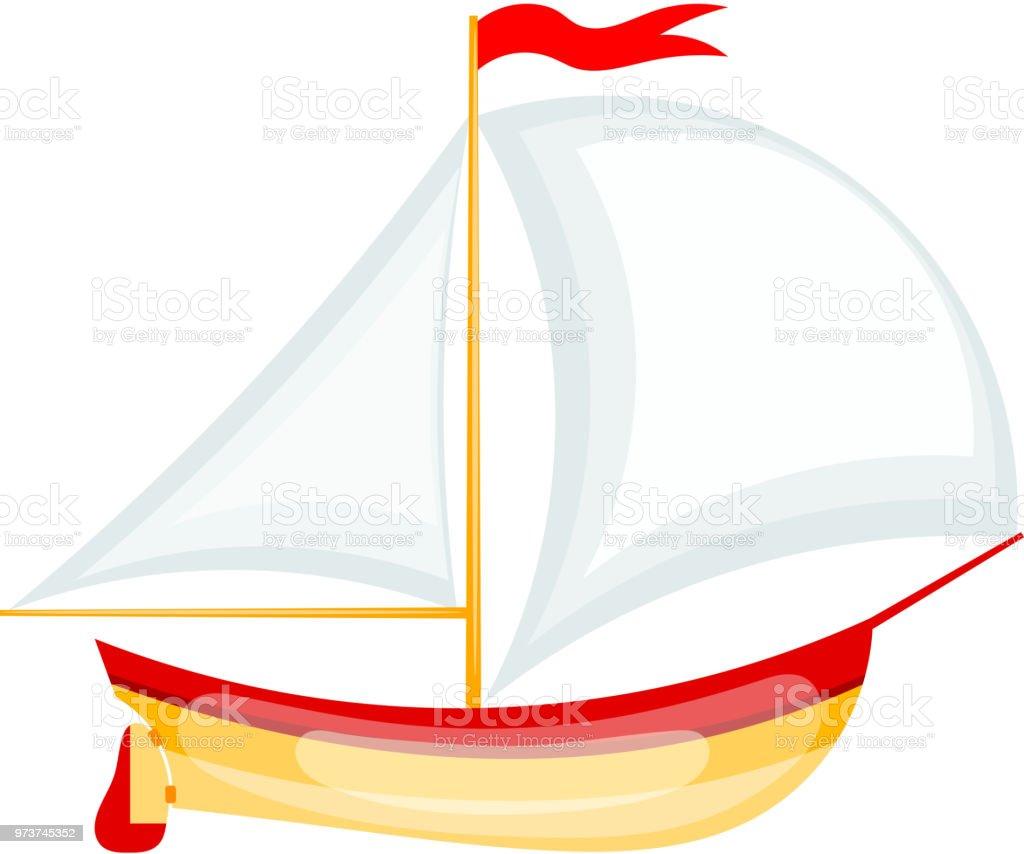 Illustration Vectorielle Dun Petit Voilier Yacht De Dessin Anime Sur Fond Blanc Objet Isole Vecteurs Libres De Droits Et Plus D Images Vectorielles De Art Istock