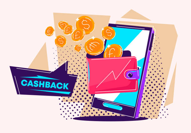 Vector illustration of a smartphone with a wallet and gold coins, mobile cash back concept Vector illustration of a smartphone with a wallet and gold coins, mobile cash back concept minimum wage stock illustrations