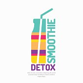 Vector illustration of a smoothie detox with a bottle and a straw