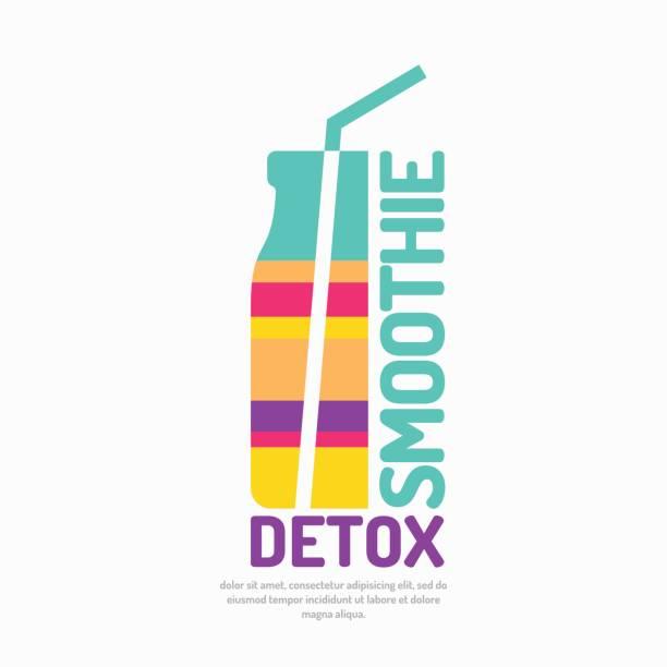 illustrazioni stock, clip art, cartoni animati e icone di tendenza di vector illustration of a smoothie detox with a bottle and a straw - healthy green juice