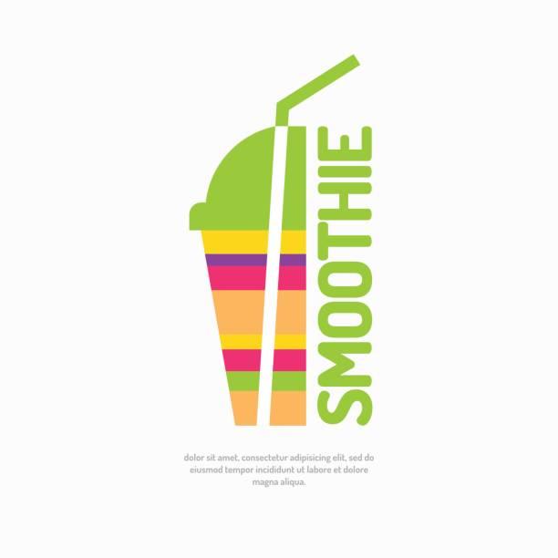 bildbanksillustrationer, clip art samt tecknat material och ikoner med vektorillustration av en smoothie, med ett glas och halm - smoothie