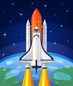 istock Vector illustration of a space rocket launch. 625329266