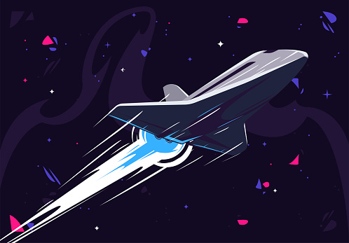 Vector illustration of a spacecraft flying at high speed in outer space, leaving a white trace of engine operation