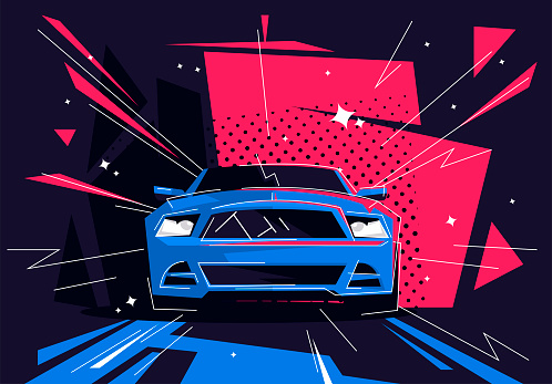 Vector illustration of a sports car, front view