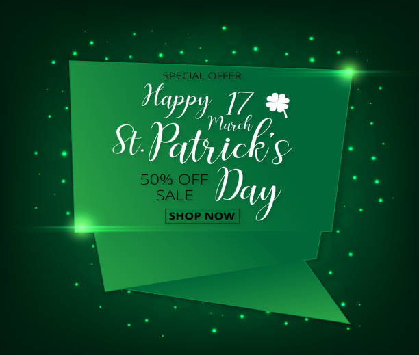 Vector Illustration of a St. Patrick's Day green sale banner Vector Illustration of a St. Patrick's Day green sale banner clover leaves background nu stock illustrations