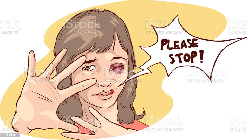 vector illustration of a Stop violence against women vector art illustration